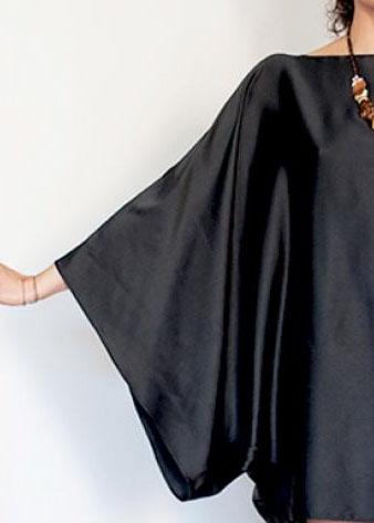 kimono sleeve on black satin top