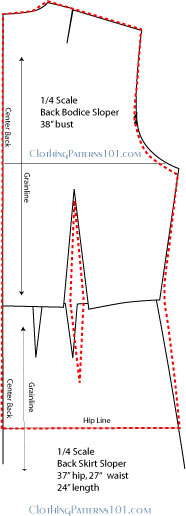 drafting the back blouse pattern using the bodice and skirt block