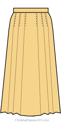 gold colored pleated skirt with flat front