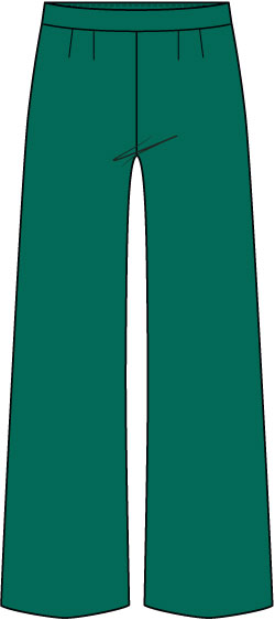 dark green wide-leg pants