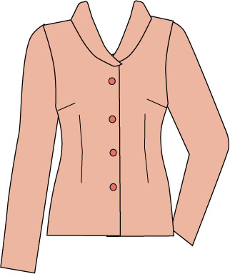 fitted blouse with waist darts and shawl collar