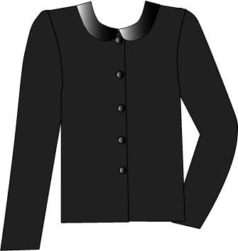 black blouse with black satin Peter Pan collar