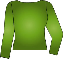 green top with boatneck neckline