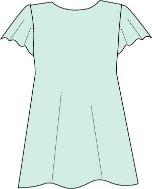 light blue top with flutter sleeves