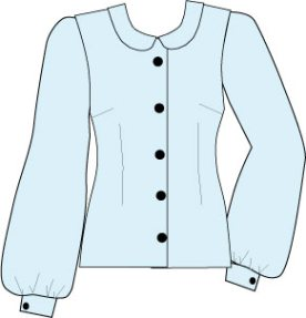 fitted blouse with bishop sleeve and peter pan collar