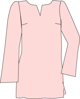 pink tunic top with notched neckline and bell sleeves