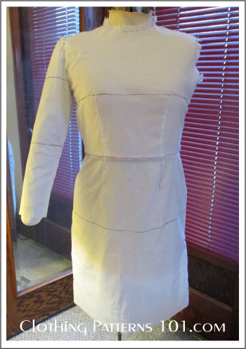 sample dress made from a basic fitting pattern, on body form