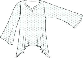 flared top with notched neckline and bell sleeves