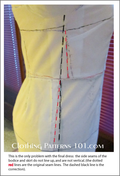 Side view of sample dress, with fitting corrections marked in red