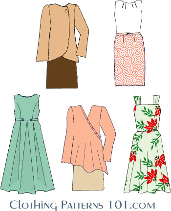 sketches of dresses that can be made from a basic dress block