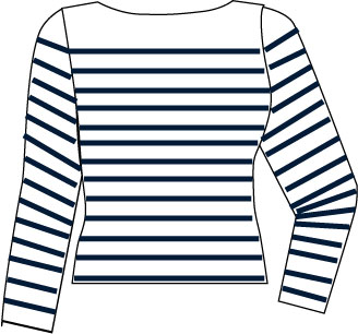 striped top with boatneck neckline