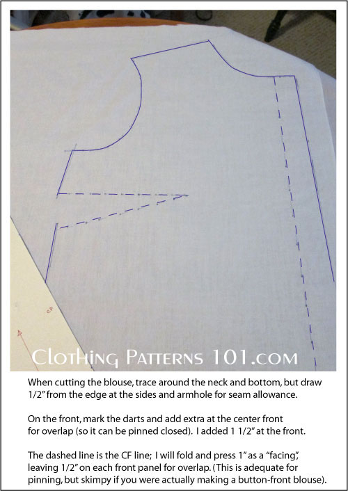 tracing the blouse block onto muslin