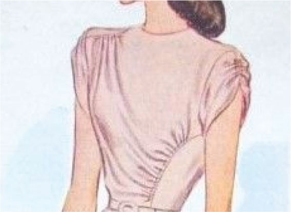 pink bodice with draped effect from shoulder to opposite side seam