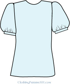 light blue blouse with sleeve that has fullness at the bottom only