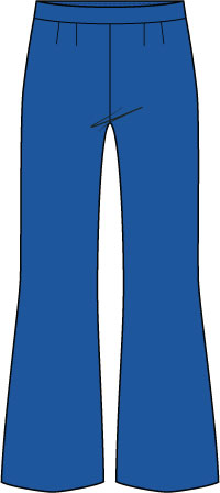 blue pant with flared leg; boot-cut pant