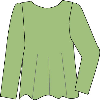 flared top with wide neckline