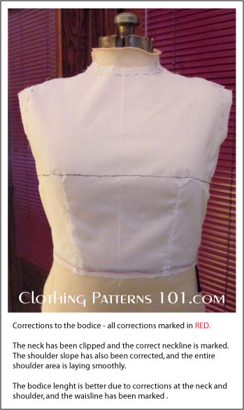corrected bodice front view