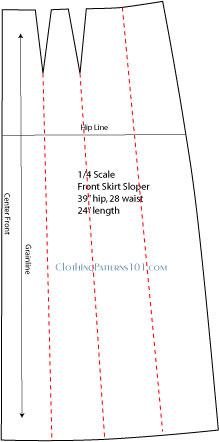 sketch of skirt pattern