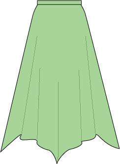 green handkerchief hem skirt