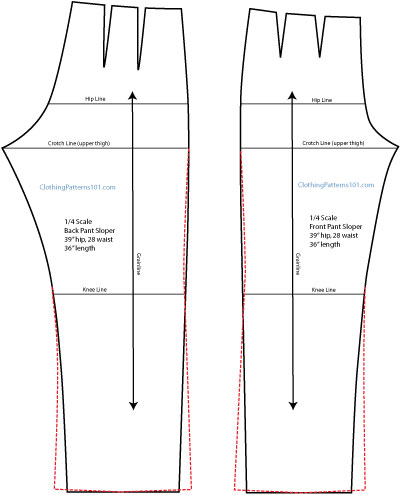 drafting the boot-cut pant leg, front and back