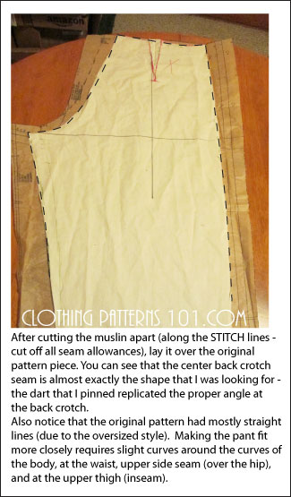 making corrections to the paper pattern from the corrected muslin sample - back pant