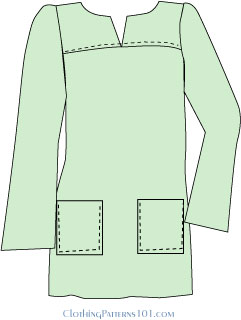 sketch of tunic with shoulder yoke and patch pockets