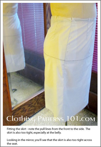 side view of skirt sample on body form
