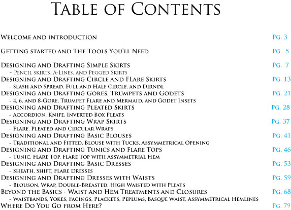 Table of Contents for Blouse, Skirt, and Dress tutorial