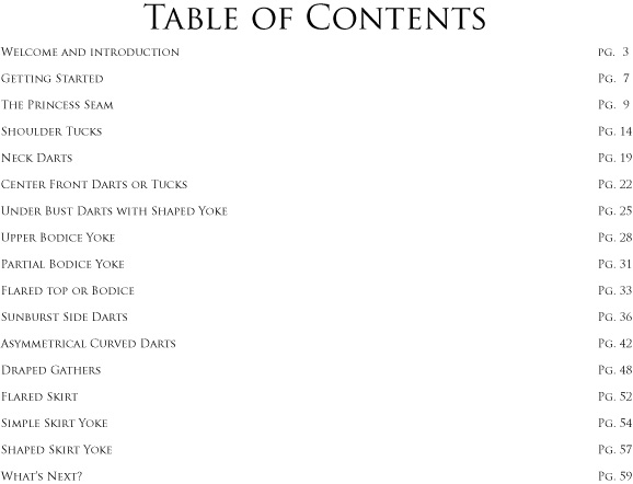 Table of Contents for Designing with Darts tutorial