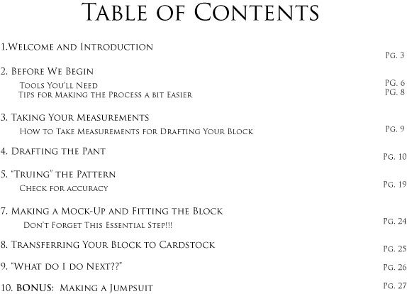 Table of Contents for Pant Block tutorial