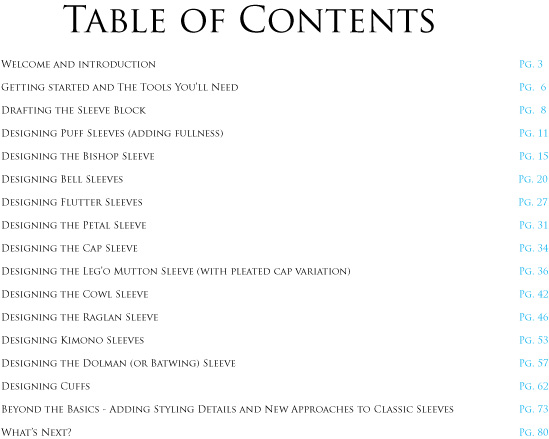 table of contents for sleeve tutorial