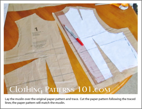 muslin pieces traced onto tissue pattern