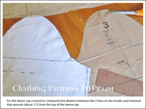 transferring corrections to the sleeve cap from the muslin sample to the tissue pattern
