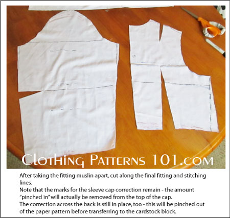 muslin dress pieces, with seam allowance trimmed off