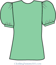 green blouse with a puff sleeve, with fullness throughout the sleeve