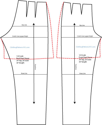 drafting the flared shorts pattern, front and back