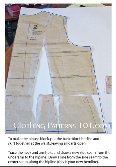using the bodice and skirt patterns to make a blouse