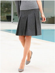 Grey skirt with inverted box pleats