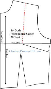 Front bodice pattern with markings to manipulate and move side bust dart