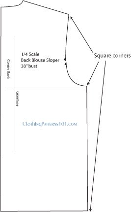 front bodice pattern with markings showing location of squared corners