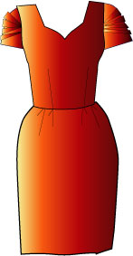 rust-colored dress with sweetheart neckline