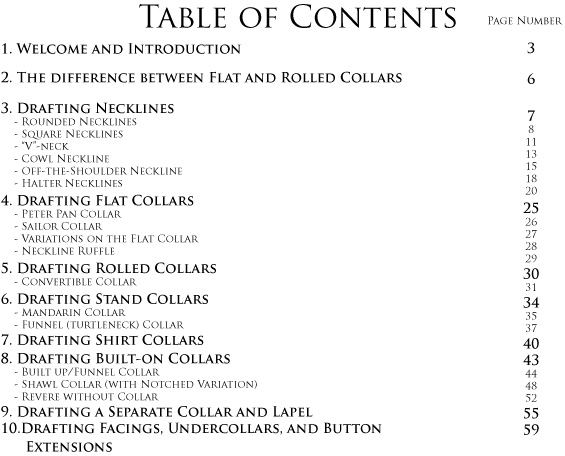table of contents for Beginner's Guide to Necklines and Collars